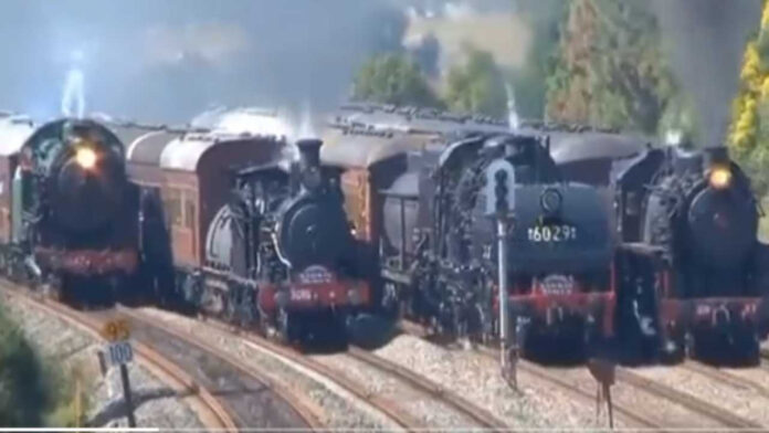 Four Trains Moving in Same Direction Video