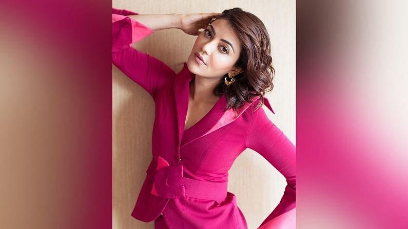 kajal aggarwal in a hot pink pantsuit images